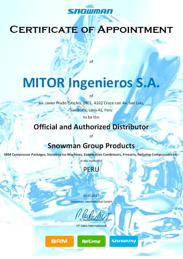 Mitor, líder en refrigeración industrial, es distribuidor oficial de Snowman
