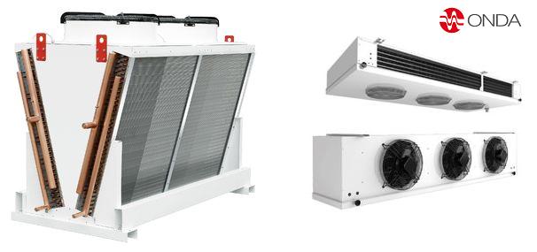 Condensadores enfriados por aire y evaporadores para freón y amoníaco